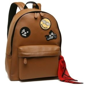 Coach Mens Mickey Mouse  Patchwork saddle backpack
